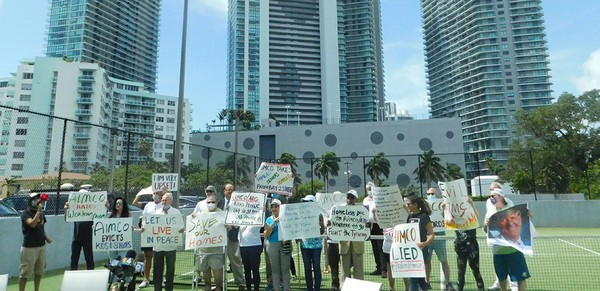 Hamilton on the Bay tenants picket during a press  conference in June.JPG